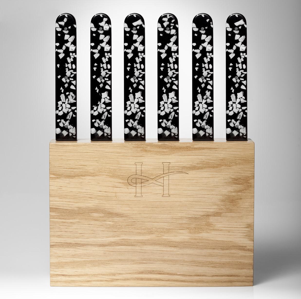 6 couteaux noirs bloc bois